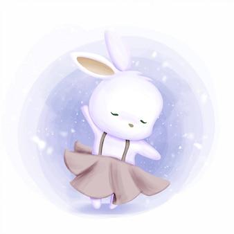 Little bunny dancing like ballerina