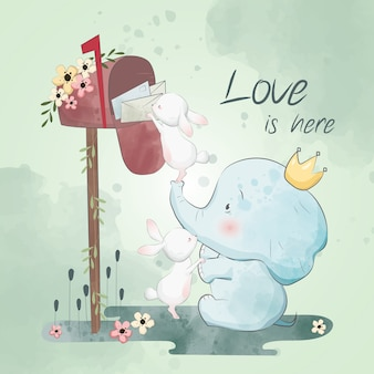Little Bunny en Elephant nemen brieven