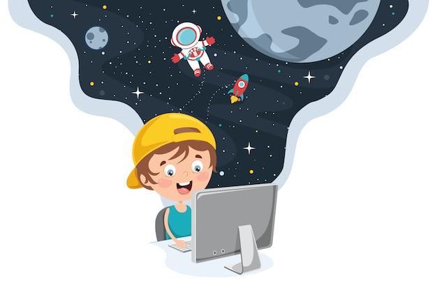 Little happy kid met behulp van technologie