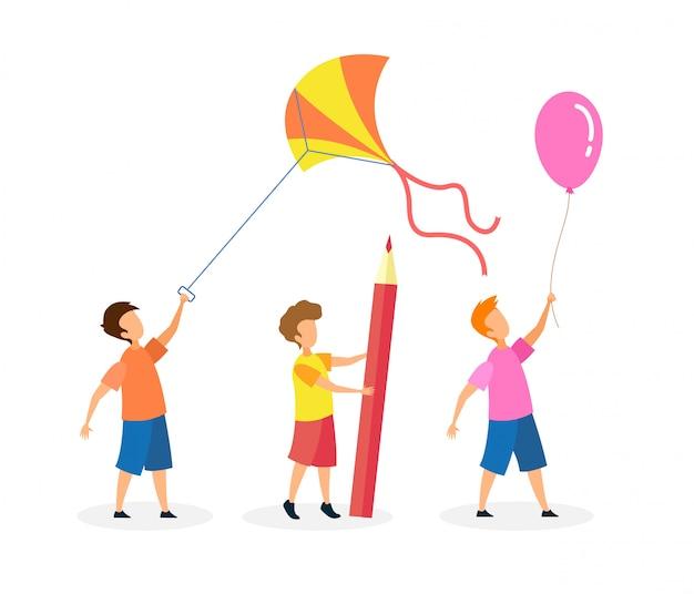 Little joyful children cartoon characters set