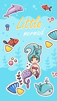 Little mermaid shells seaweeds fish whale dolphin bubbles