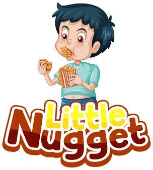 Little nugget-logotekstontwerp met een jongen die kipnuggets eet