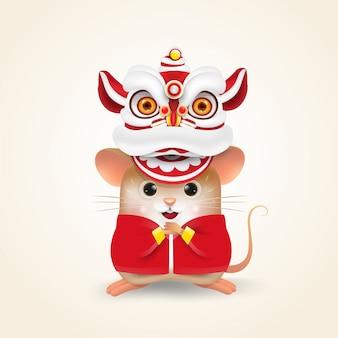 Little rat or mouse voert chinees nieuwjaar lion dance uit.