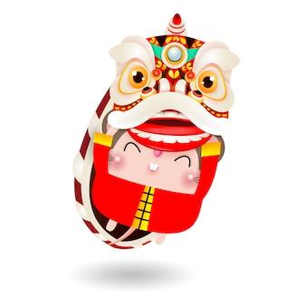 Little rat voert lion dance uit voor happy chinese nieuwjaar 2020