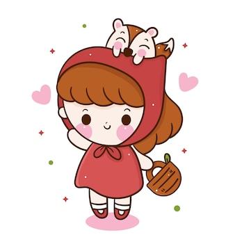 Little red riding hood cartoon meisje en wolf