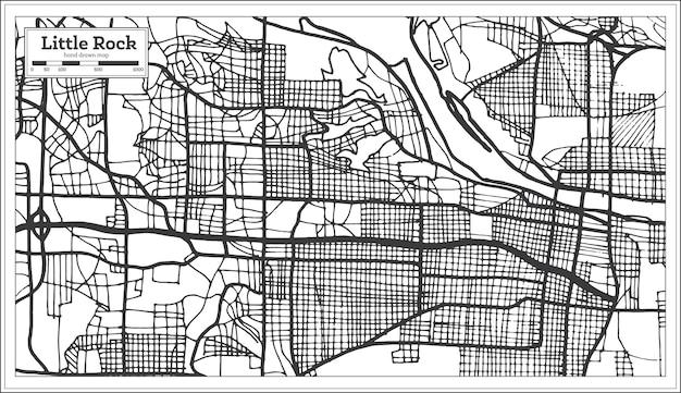 Little rock usa stadsplattegrond in retro stijl. overzicht kaart. vectorillustratie.