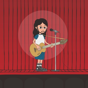 Live band jongen cartoon karakter thema vectorillustratie