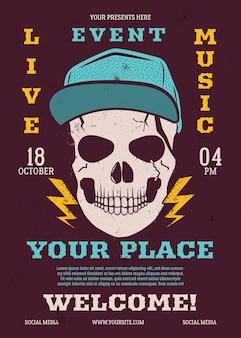 Live evenement muziek flyer, muziek poster achtergrond sjabloon met trendy schedel hoofd. rock n roll achtergrond.