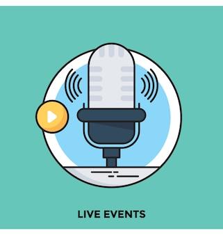 Live-evenementen platte vector pictogram
