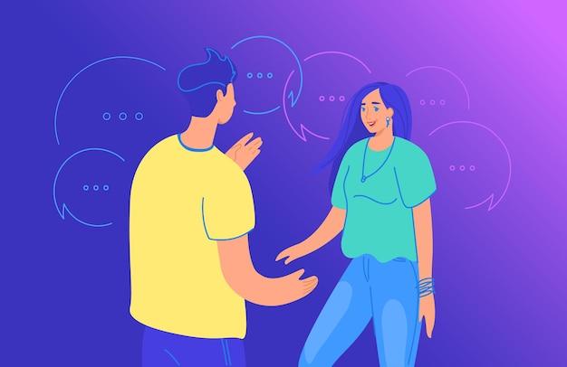 Live gesprek tussen twee vrienden gradiënt vectorillustratie van jonge mensen die samen staan en over iets praten. jonge tiener jongen en meisje staan met tekstballonnen symbolen rond