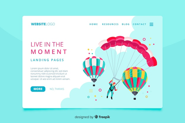 Live in the moment adventure landing page