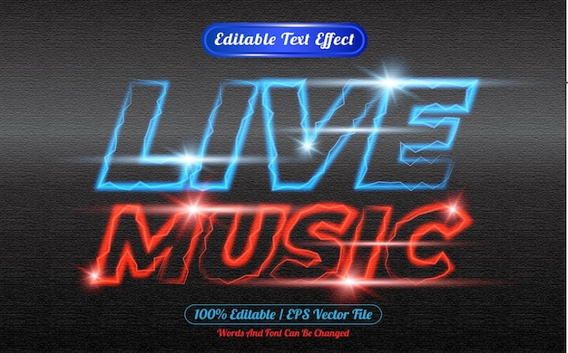 Live muziek bewerkbaar teksteffect licht thema