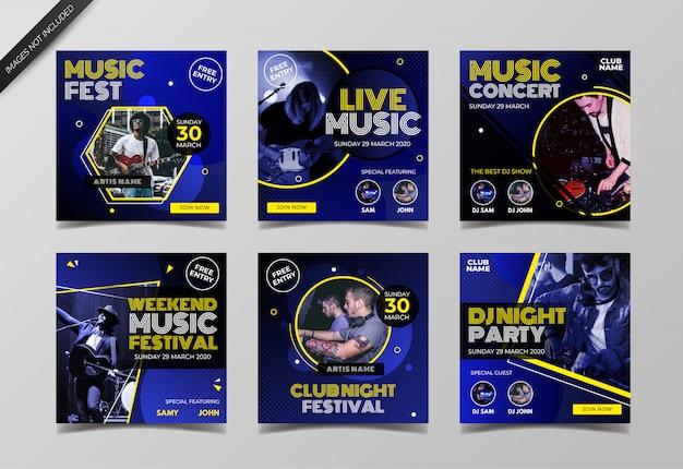 Live muziek evenement instagram post collectie sjabloon