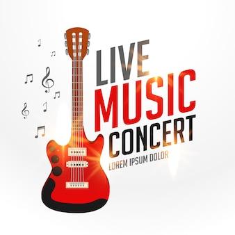 Live muziek voorbladsjabloon met realistische gitaar