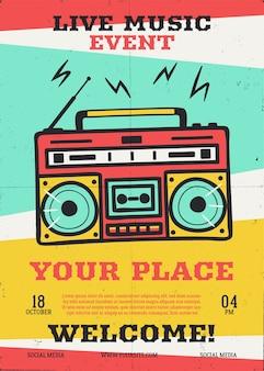 Live muziekevenement flyer met retro platenspeler.