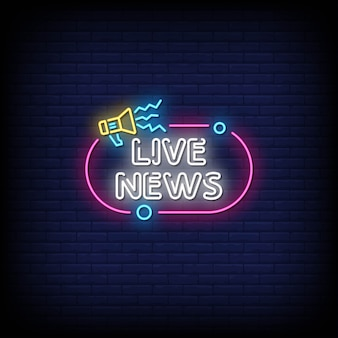 Live news neon signs style text