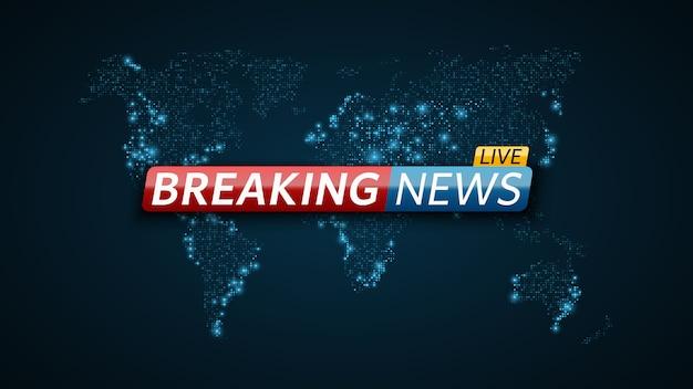 Live nieuws. abstracte futuristische achtergrond met een gloeiende blauwe wereldkaart. live op tv.