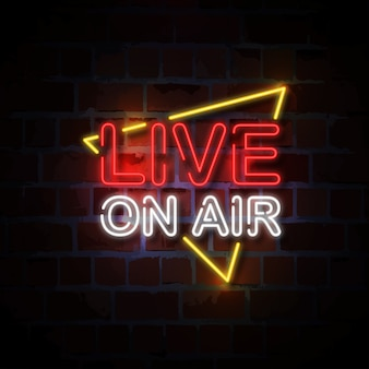Live on air neon sign illustratie