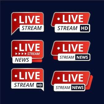 Live steams nieuws banners collectie