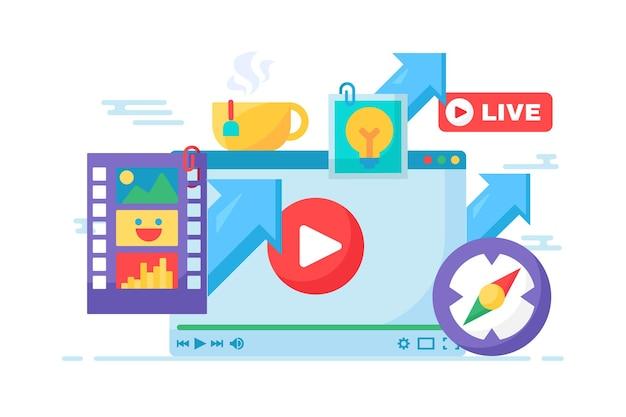 Live stream creatief idee concept icoon. materiaal maken voor online uitzendingen semi-platte afbeelding. modern omslagontwerp. vector geïsoleerde kleurtekening