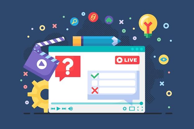 Live stream discussie concept semi vlakke afbeelding. digitale communicatie idee podcast. stemmen en polls in de chat. online uitzending ontwerp op donkere achtergrond. vector geïsoleerde kleurtekening