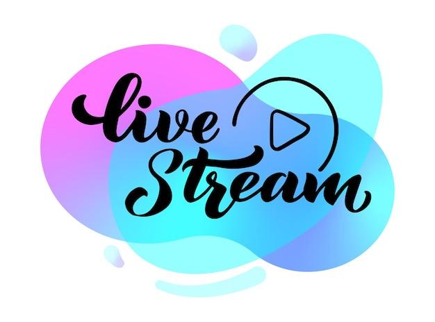 Live stream hand tekenen belettering voor projecten website live stream videochat de illustratie