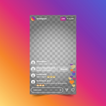 Live stream instagram interface sjabloon