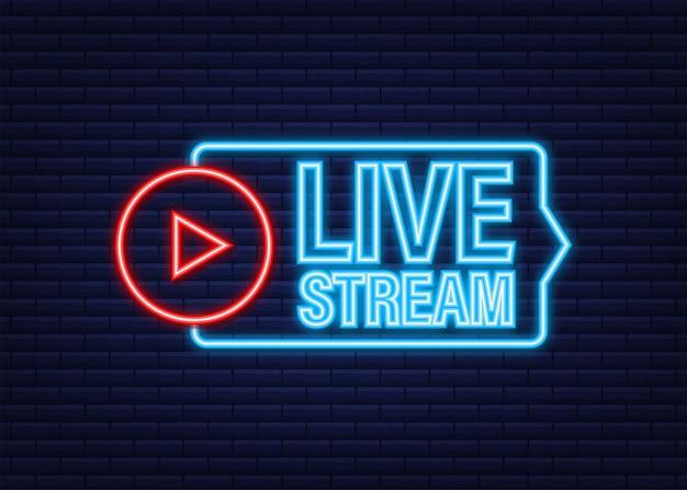 Live stream neon-logo, nieuws en tv of online uitzendingen. vector voorraad illustratie.