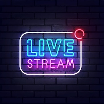 Live stream-neonbord, helder uithangbord, lichte banner. live stream-logo neon, embleem. vector illustratie