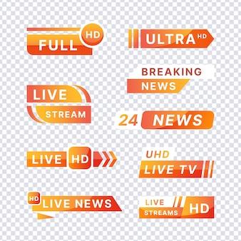 Live stream nieuws banners sjabloonstijl