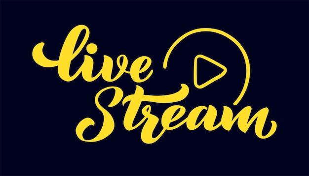 Live stream vector hand tekenen belettering voor projecten website live stream videochat de vector