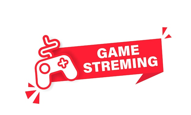 Live streamen van gamen. webcast-knop, pictogram, embleem, label. streamers.