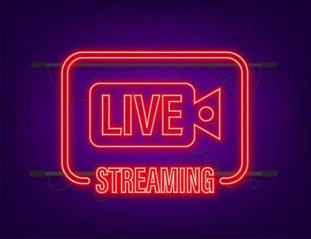 Live streaming-logo. neon icoon. stream-interface. vector voorraad illustratie.
