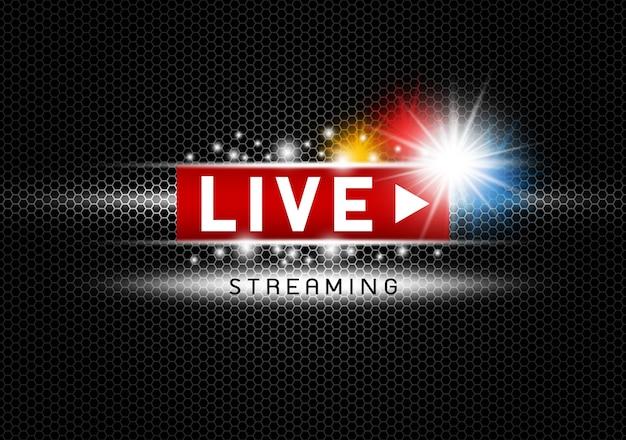 Live streaming met licht op zwarte metalen textuur achtergrond