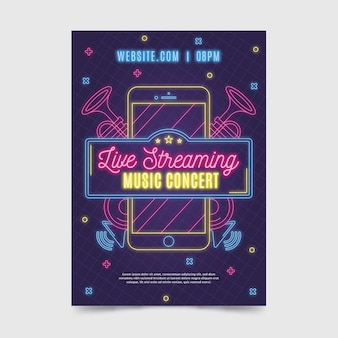 Live streaming muziek concert poster sjabloon