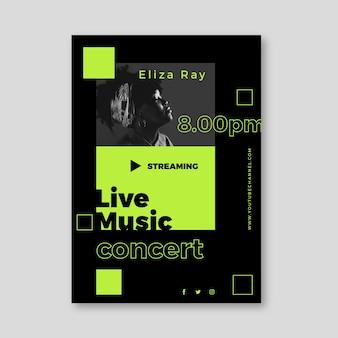 Live streaming muziek concert posterontwerp