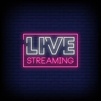 Live streaming neon sign style text vector