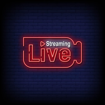 Live streaming neonreclames stijl tekst vector