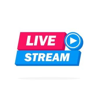 Live streaming pictogram, badge, embleem voor uitzendingen of online tv-stream. vector in materiaal, plat, ontwerpstijl.