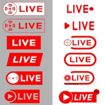 Live streaming pictogrammen. rode symbolen en knoppen voor live streaming