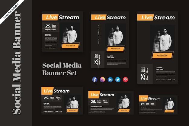 Live streaming social media banner decorontwerp