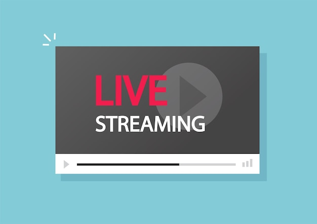 Live streaming teken op videospeler platte cartoon afbeelding