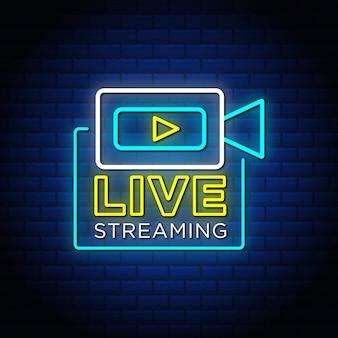 Live streaming tekstontwerp in neonreclamestijl.