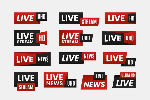 Live streams nieuws banners concept