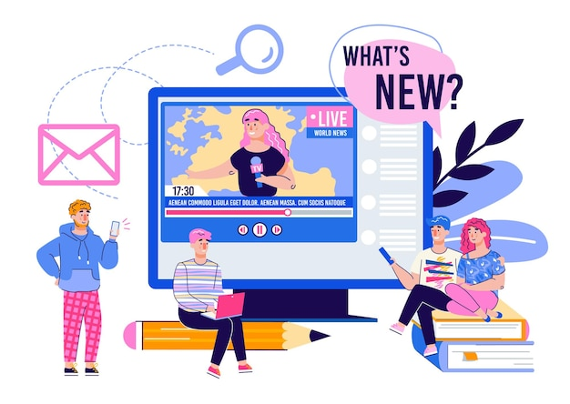 Live verslag en online nieuws met mensen die video bekijken