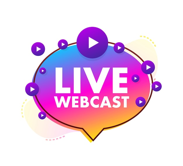 Live webcast-knop, pictogram, embleem, label. vector voorraad illustratie.