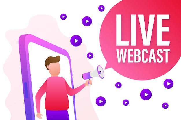 Live webcast, megafoon geen smartphonescherm. kan worden gebruikt voor bedrijfsconcept. vector stock illustratie