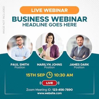 Live webinar en online videoconferentiebanner voor instagram post webzoom en sociale media