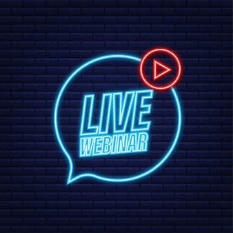 Live webinar-knop met megafoon, pictogram. neon icoon. vector illustratie.