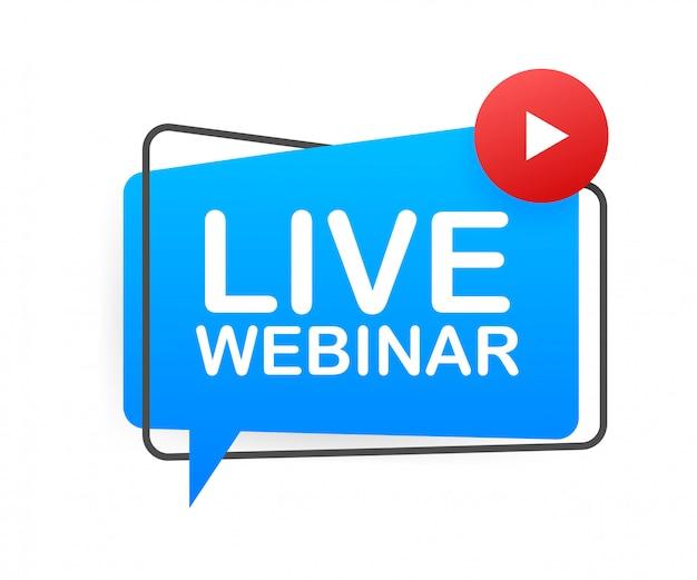 Live webinar-knop, pictogram, embleem, label. illustratie. Premium Vector